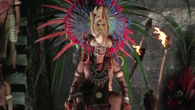 tucked away in thick forest an exquisite site of mayan ruins begins hosting winter solstice ceremonies as the regions indigenous people mark the end... - mayan stock videos & royalty-free footage
