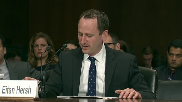 tufts university associate professor eitan hersh tells members of the senate judiciary committee at a hearing on data privacy and cambridge analytica... - persuasion stock videos and b-roll footage