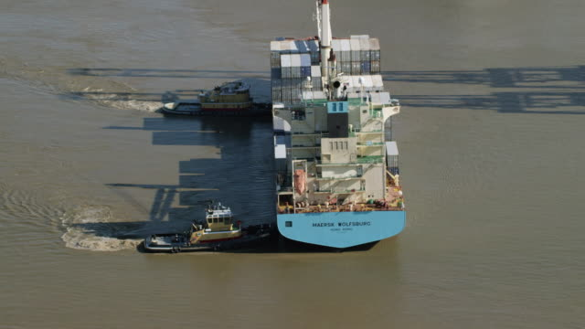 MS HA POV Tug boat moving in river / Savannah, Georgia, United States