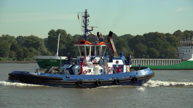 tug boat on elbe river near hamburg-finkenwerder, hamburg, germany - tug boat stock videos & royalty-free footage
