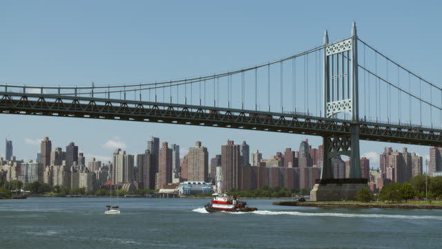 Tugboat and sailboat move along the East River underneath the Triborough Bridge. View of Upper East Side skyline.