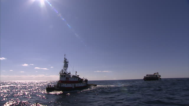 vidéos et rushes de a tugboat leads a barge out to sea. - remorqueur