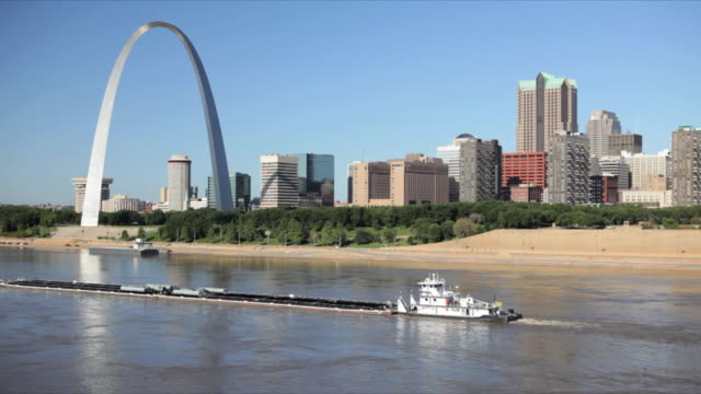 WS Tugboat pushing barge in Mississippi river / St Louis, Missouri, USA