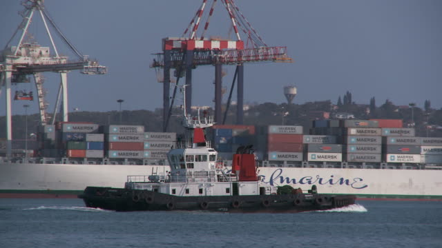 ts tugboat speeding across durban harbor with cranes on the dock / durban, south africa - durban stock videos and b-roll footage