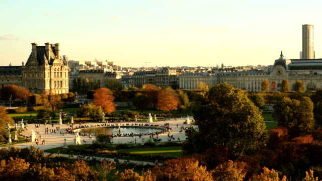 jardin des tuileries panorama - louvre stock videos and b-roll footage