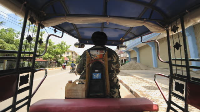 t/l ws pov tuk tuk cycling around city / luang phabang, laos - laos stock videos and b-roll footage