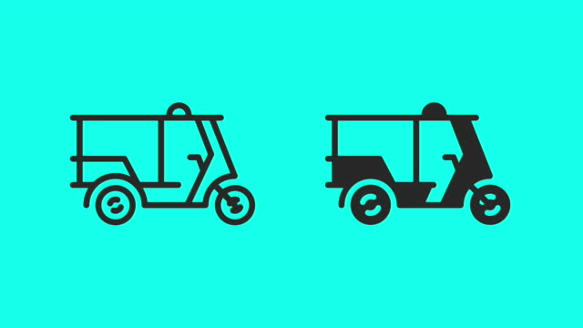 tuk tuk - vector animate - tricycle stock videos & royalty-free footage