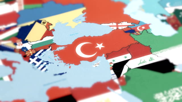 tukey borders wiht national flag on world map - turkey stock videos and b-roll footage