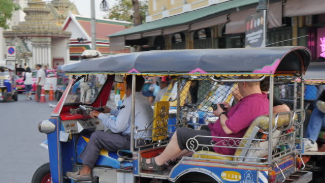 tuk-tuks near grand palace complex, bangkok, thailand, southeast asia, asia - rickshaw stock videos and b-roll footage
