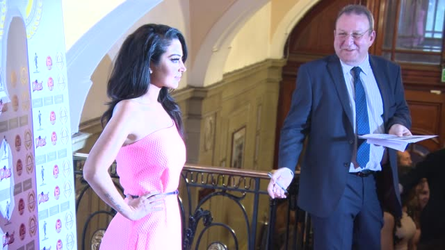 tulisa at national film awards at porchester hall on march 31, 2015 in london, england. - ポーチェスター点の映像素材/bロール