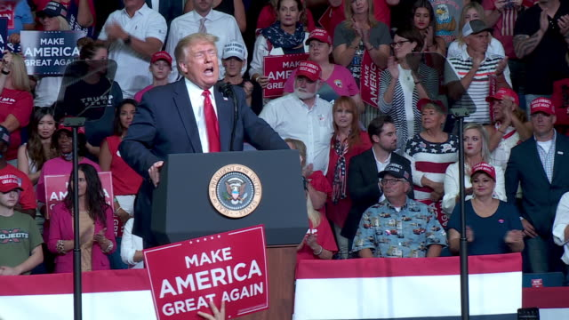 tulsa, ok, u.s. - audience applauding during president donald trump's speech at rally at the bok center in tulsa, ok on saturday, june 20, 2020. on... - political rally stock videos & royalty-free footage