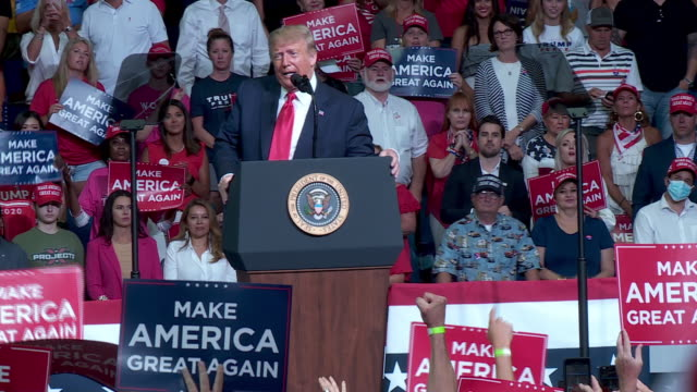 tulsa, ok, u.s. - president donal trump having speech at make america great again rally at the bok center in tulsa, ok on saturday, june 20, 2020. on... - lectern stock videos & royalty-free footage