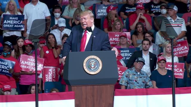 tulsa, ok, u.s. - president donald trump speaks about joe biden during rally at the bok center in tulsa, ok on saturday, june 20, 2020. on saturday,... - lectern stock videos & royalty-free footage