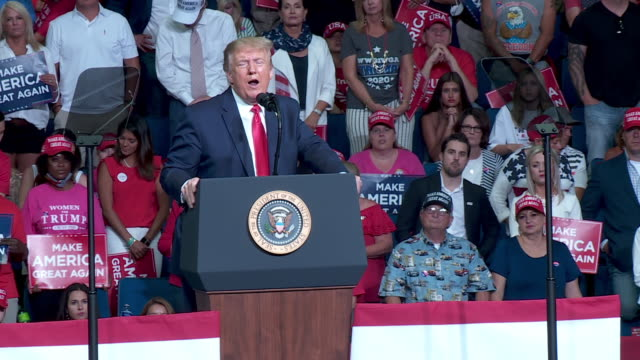 tulsa, ok, u.s. - president donald trump speaks about obama's social care at rally at the bok center in tulsa, ok on saturday, june 20, 2020. on... - lectern stock videos & royalty-free footage