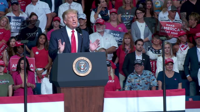tulsa, ok, u.s. - president donald trump speaks about the taxes at rally at the bok center in tulsa, ok on saturday, june 20, 2020. on saturday,... - lectern stock videos & royalty-free footage