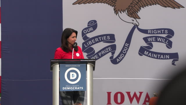 tulsi gabbard speaks during the polk county steak fry in des moines iowa the event political event was attended by all 17 candidates still running... - polynesian ethnicity stock videos & royalty-free footage