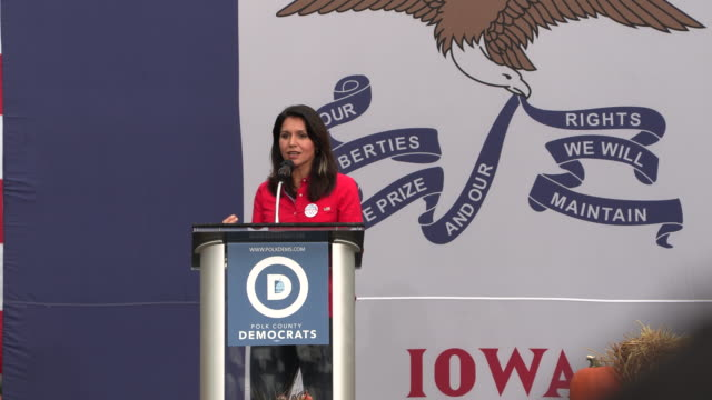 tulsi gabbard speaks during the polk county steak fry in des moines, iowa. the event political event was attended by all 17 candidates still running... - polynesian ethnicity stock videos & royalty-free footage
