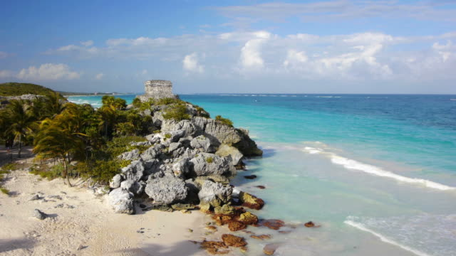 tulum beach mexico - old ruin stock videos and b-roll footage