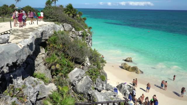 tulum beach panning - tulum mexico stock videos & royalty-free footage