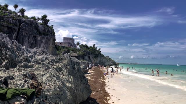 tulum mayan ruins and the mayan beach - mayan riviera stock videos and b-roll footage