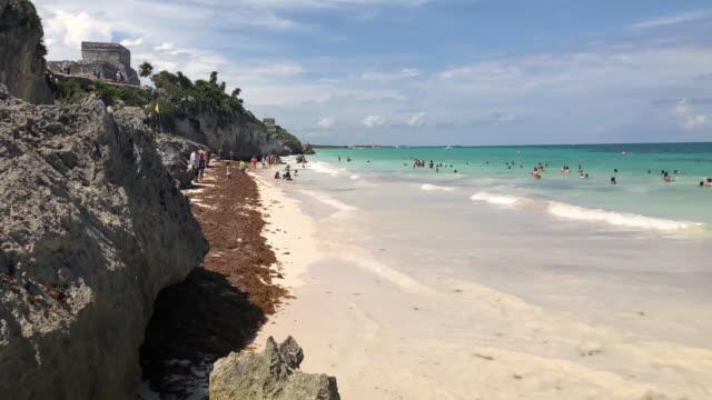 Tulum mayan ruins from the beach