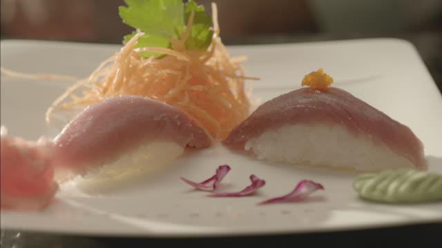 tuna nigiri - nigiri stock videos and b-roll footage
