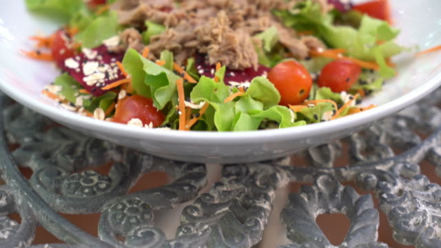 tuna with vegetable salad - tuna seafood stock videos and b-roll footage