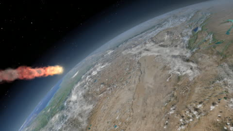 tunguska event. animation of the object that caused the tunguska event in siberia, russia, descending through the earth s atmosphere. the tunguska event was a massive explosion that took place at 07:17 on 30 june 1908 - impact stock videos & royalty-free footage