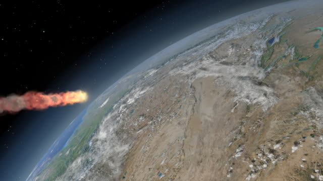 tunguska event. animation of the object that caused the tunguska event in siberia, russia, descending through the earth s atmosphere. the tunguska event was a massive explosion that took place at 07:17 on 30 june 1908 - meteor stock videos & royalty-free footage