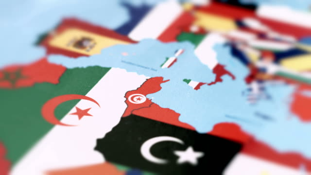 tunisia borders with national flag on world map - europa continente video stock e b–roll