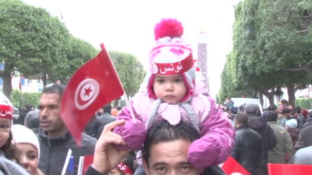 tunisia marks saturday the sixth anniversary of its 2011 revolution which saw the fall of dictator zine el abidine ben ali with a demonstration held... - tunisia stock videos & royalty-free footage