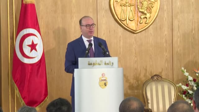 tunisia premier elyes fakhfakh resigns: official source file images of tunisian prime minister elyes fakhfakh - tunis stock videos & royalty-free footage