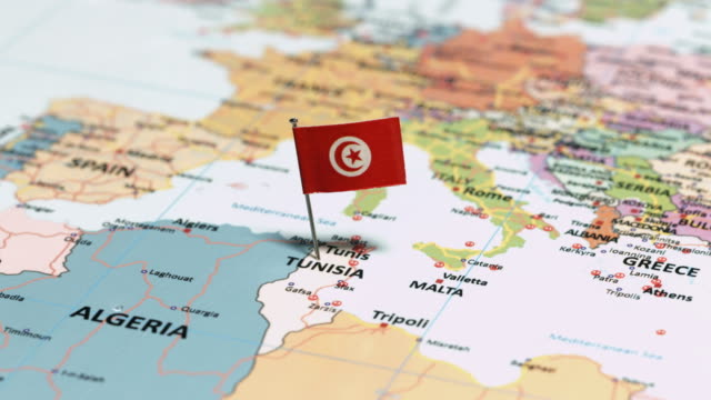 tunisia with national flag - tunisia stock videos & royalty-free footage