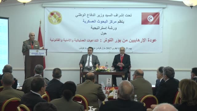 "tunisian defense minister farhat horchani attends a workshop held by the military research centre on ""the return of terrorists from hotbeds of... - legal defense stock videos & royalty-free footage"