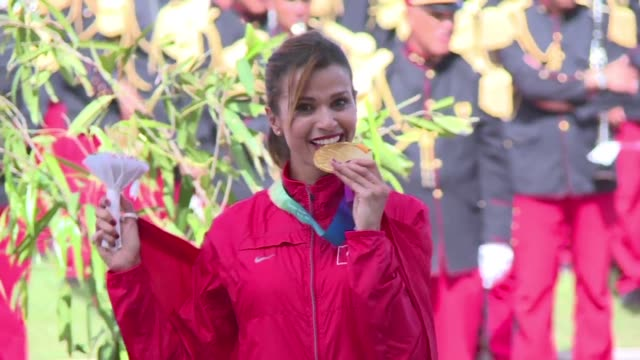 tunisian longdistance runner habiba ghribi is officially presented with olympic 2012 and world 2011 3000 metre steeplechase gold medals stripped from... - steeplechase stock videos and b-roll footage