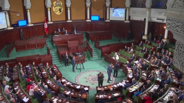 tunisian members of parliament are gathered in plenary for a vote that should barring any surprise give the parliament's confidence to the new... - tunis stock videos & royalty-free footage