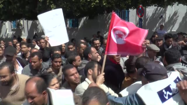 tunisian people gather at habib bourguiba street to protest against unemployment in tunis, tunisia on april 09, 2016. - tunisia stock videos & royalty-free footage