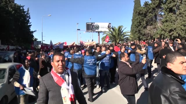 tunisian policemen take part in a demonstration outside tunis' carthage palace to demand a pay increase near tunis tunisia on january 25 2016 - carthage tunisia stock videos & royalty-free footage