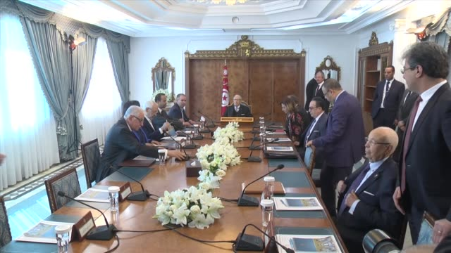 tunisian president beji caid el sebsi chairs a meeting with political representatives of both signer sides of the carthage declaration that form the... - carthage tunisia stock videos & royalty-free footage