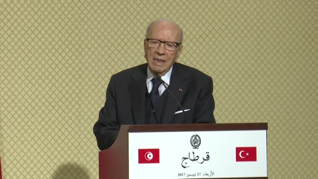 tunisian president beji caid essebsi delivers a speech during a joint press conference with his turkish counterpart recep tayyip erdogan at carthage... - carthage tunisia stock videos & royalty-free footage