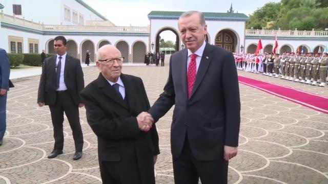 tunisian president beji caid essebsi hosted turkish president recep tayyip erdogan at carthage palace near tunis on wednesday - recep tayyip erdoğan stock videos & royalty-free footage