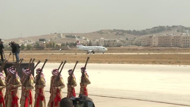 Tunisian President Beji Caid Essebsi is welcomed by King Abdullah II of Jordan after he arrived in Amman Civil Airport in Amman Jordan on October 20...