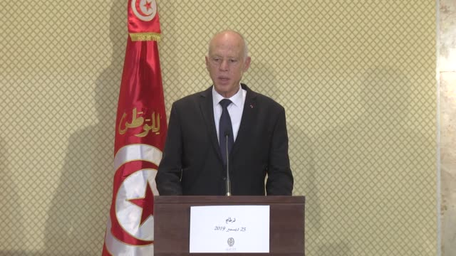 tunisian president kais saied speaks at a joint press conference with his turkish counterpart recep tayyip erdogan following their meeting in tunis,... - tunis stock videos & royalty-free footage