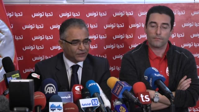 tunisian presidential candidate beji caid essebsi's campaign manager mohsen marzouk gives a speech to the press during tunisian election officials... - press release stock videos and b-roll footage