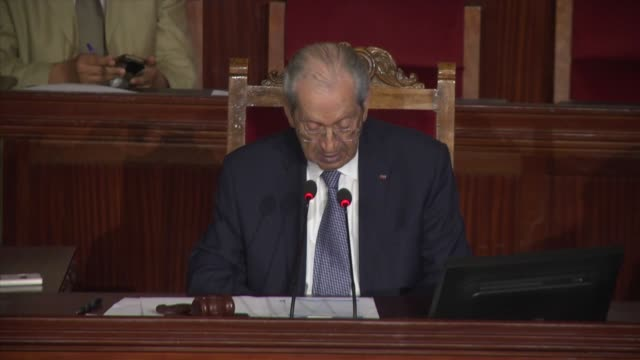 tunisian prime minister youssef chahed delivers a speech during a meeting of the general assembly at parliament building in tunis, tunisia on july... - parliament building stock videos & royalty-free footage