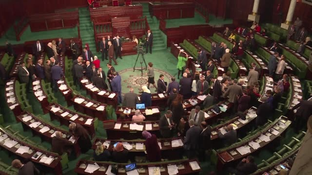 tunisian prime minister youssef chahed presents his new cabinet to the parliament a cabinet he says was revised to deal with negative influences from... - tunis stock videos & royalty-free footage