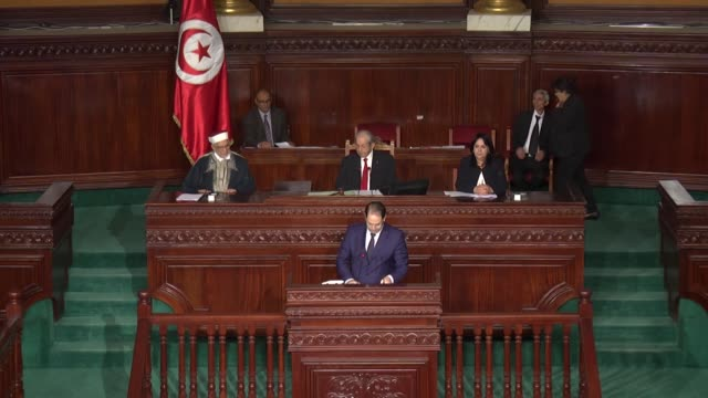 tunisian prime minister youssef chahed speaks during a session for 2019 budget proposal at the parliament building on november 24 in tunis tunisia - parliament building stock videos & royalty-free footage