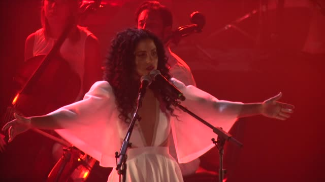 tunisian singer emel mathlouthi performs at stage during the 53rd international carthage festival at the carthage amphitheater on august 12 2017 in... - carthage tunisia stock videos & royalty-free footage