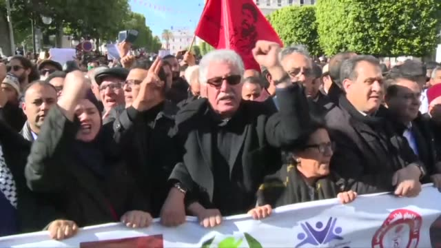 tunisians on sunday marked seven years since the uprising that launched the arab spring with more protests after days of unrest over persisting... - tunisia stock videos & royalty-free footage