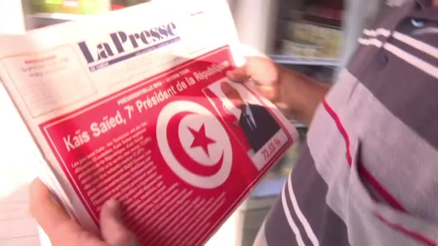 tunisians react to sunday's presidential election - tunisia stock videos & royalty-free footage